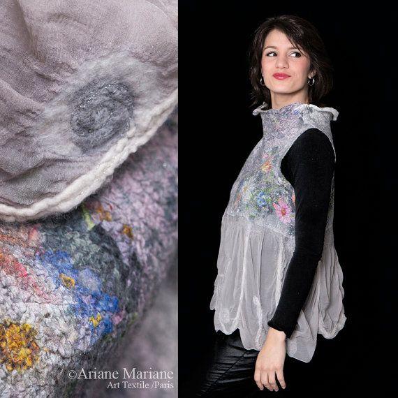 Romantic nuno felt wearbale art women garment by ArianeMariane