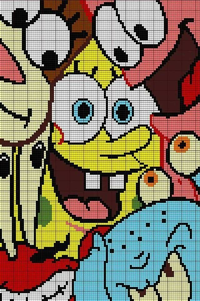 Sponge Bob C2c Pixel Art Grid Disney Cross Stitch Patterns Minecraft Pixel Art