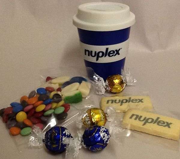 Thrive Promotional Products & Corporate Gifts - Client Project:  New office gift for staff. Branded carry cup, branded shortbreads and confectionery treats.