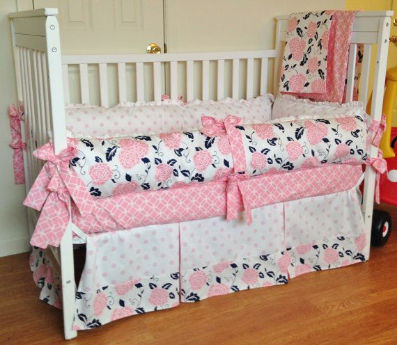 Crib bedding baby girl bedding set navy pink white for Design my own bed set