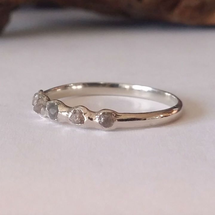 14k Wedding Band, Raw Rough Uncut Diamond Stacking Wedding Band by Dawn Vertrees by DawnVertreesJewelry on Etsy https://www.etsy.com/listing/269118649/14k-wedding-band-raw-rough-uncut-diamond