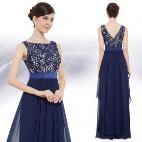 --Temně modré společenské šaty s krajkou - Ever-Pretty