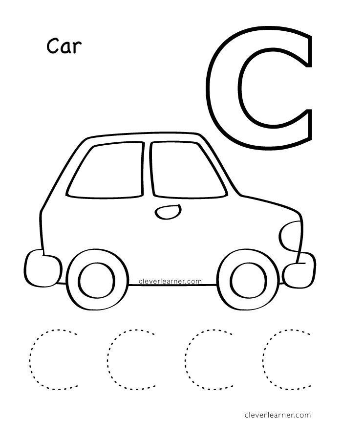 c is for cat coloring sheet for children worksheets kg preschool worksheets letter c. Black Bedroom Furniture Sets. Home Design Ideas