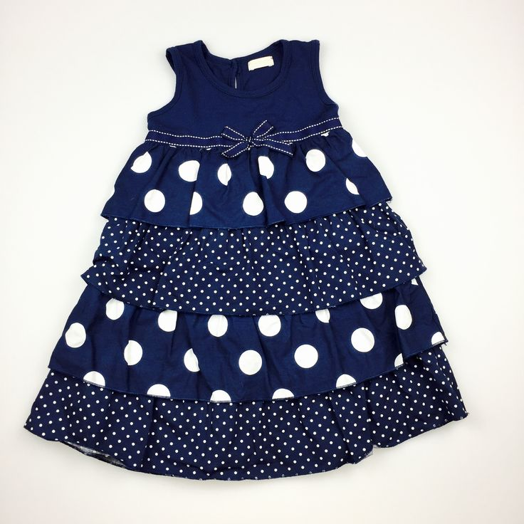 BAMBINI, navy and white tiered spotted dress, good pre-loved condition (GUC), girl's size 2, $16