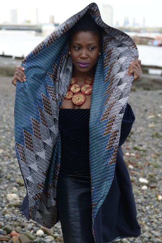 NEW Star Gaze ankara print coat navy wool by GitasPortal on Etsy ~DKK ~ Latest African fashion, Ankara, kitenge, African women dresses, African prints, African men's fashion, Nigerian style, Ghanaian fashion.
