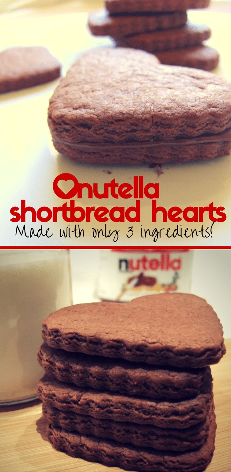 Nutella shortbread heart cookies. Just 3 ingredients! Crisp, chocolatey, delicious cookies that make a terrific Valentine's Day treat. #baking #ValentinesDay #cookies #nutella