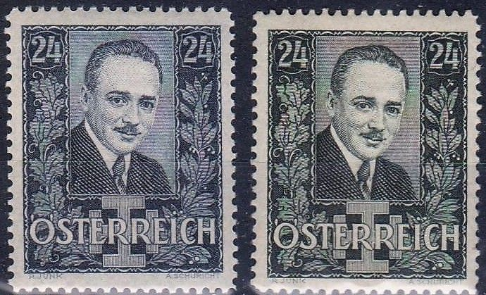Austria - Engelbert Dollfuss mourning postage stamp issue, 1934-35.