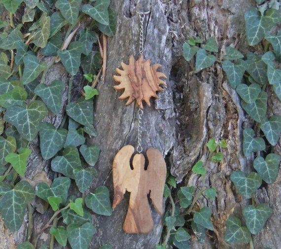 Sun & Angel mobile  hand made from Greek olive by ellenisworkshop