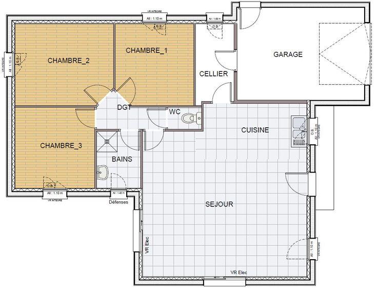 Plan Maison Rdc 3 Chambres. Affordable Plan Rdc Maison Maison With Plan  Maison Rdc 3 Chambres. Fabulous Plan De Maison Chambres Avec Double Garage  With Plan ...