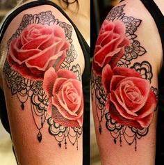 Lace & roses – tattoo idea
