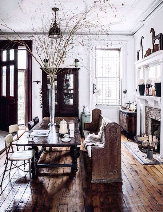 Living room ideas! Love the glass jar in the middle of that wonderful table!