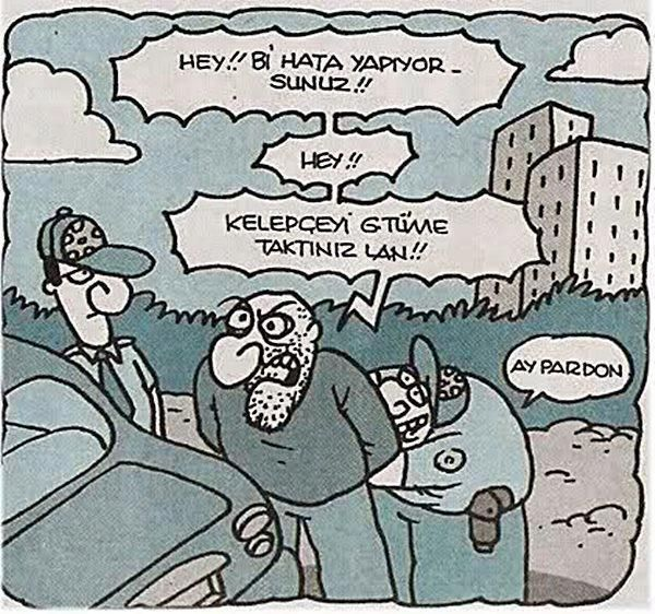 - Hey!! Bi hata yapıyorsunuz!! - Hey!! - Kelepçeyi G.tüme taktınız lan!! + Pardon. #karikatür #mizah #matrak #komik #espri #şaka #gırgır #komiksözler