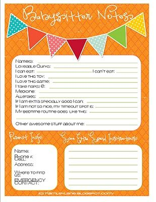 Kamley Lane-Kamley Printables babysitter notes! so useful, especially the favorite toy/game! one less thing the poor babysitter has to worry about.