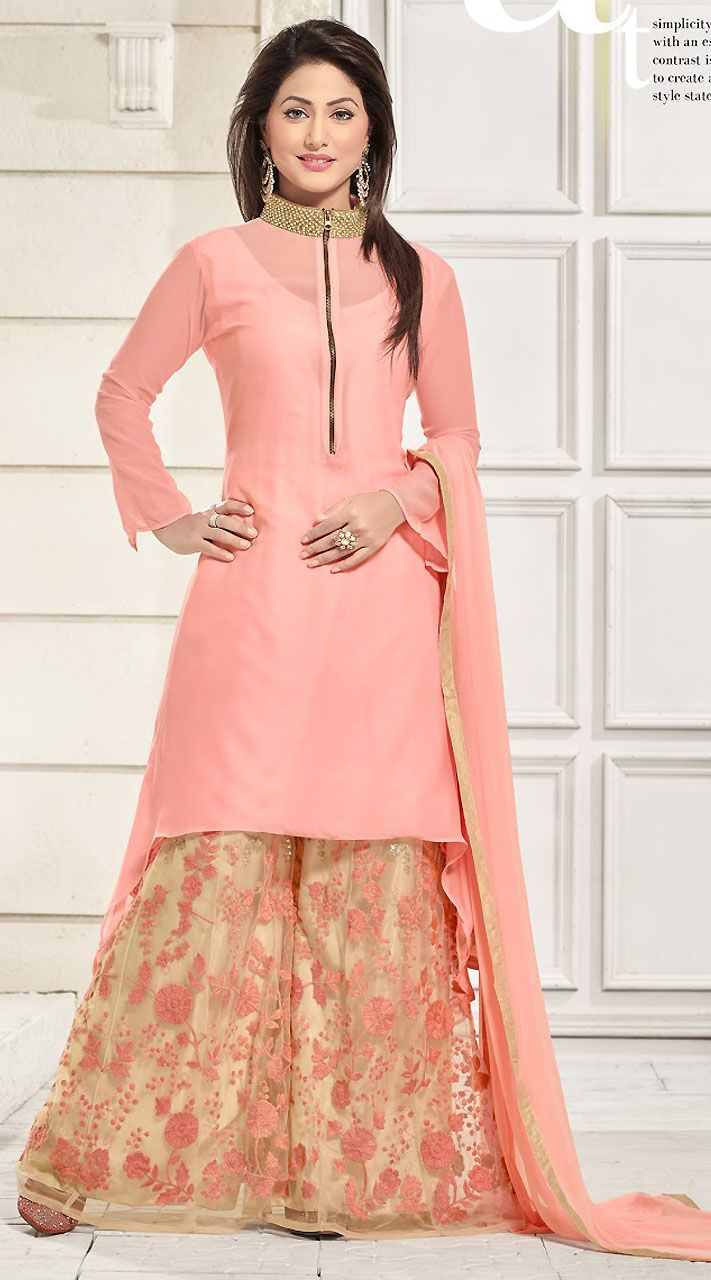 Ihram Kids For Sale Dubai: Pretty Light Pink Georgette T.V Actress Akshara Suit With