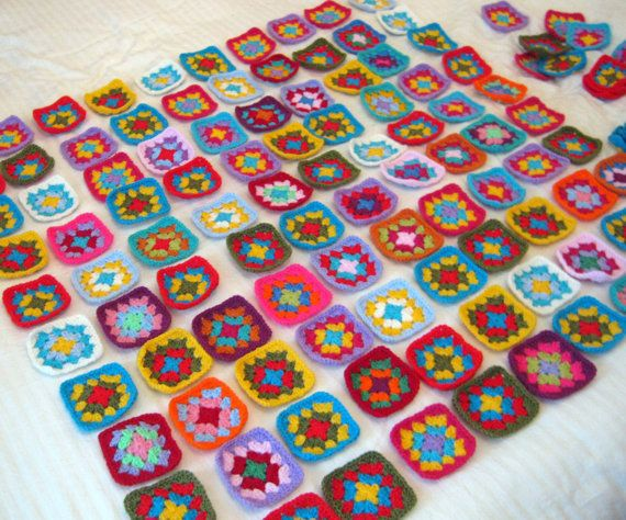 Granny Squares Crochet Afghan Blanket Vivid Colors by Thesunroomuk