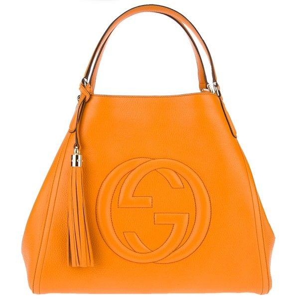 GUCCI tote bag ($1,515) ❤ liked on Polyvore featuring bags, handbags, tote bags, orange leather tote bag, gucci tote bag, orange tote, orange tote bag and gucci handbags