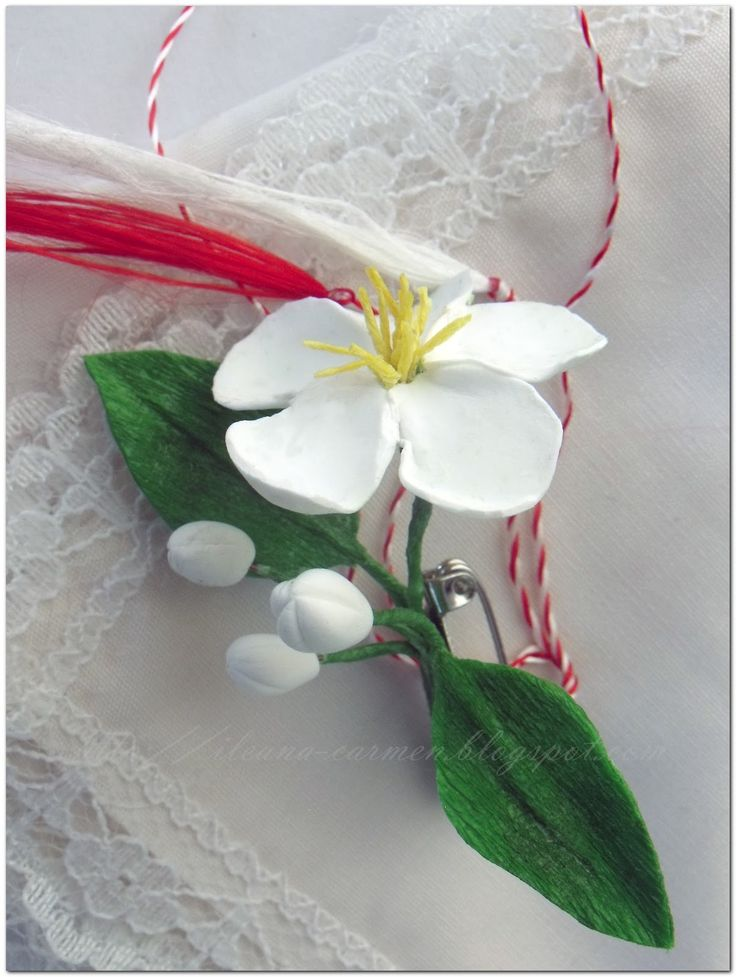 MIXED - Blooming Branches with White Flowers from Crepe Paper and Polymer Clay. Spring Romanian Amulets from 1-st March.