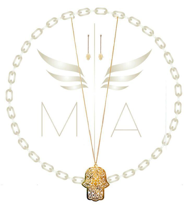 Collar largo mano Jamsa by Mery Angel accesorios #diseño #moda #estilo #chic #brillo #necklace #collar #bogota #colombia