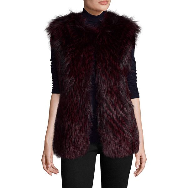 PURE NAVY Women's Natural Fox Fur Vest - Red, Size L ($549) ❤ liked on Polyvore featuring outerwear, vests, red, navy blue vest, collarless vest, red waistcoat, purple waistcoat and navy blue waistcoat