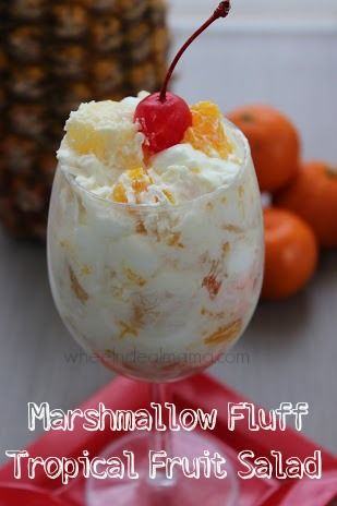 Want something light and fluffy for dessert? NO baking required! You should make this great Marshmallow Fluff Tropical Fruit Salad. It is not too rich, has fruit and is so tasty! I could actually eat the whole batch myself 😉 Be sure tofollow me on Pinterestandcheck out my other recipestoo! Marshmallow Fluff Tropical Fruit …
