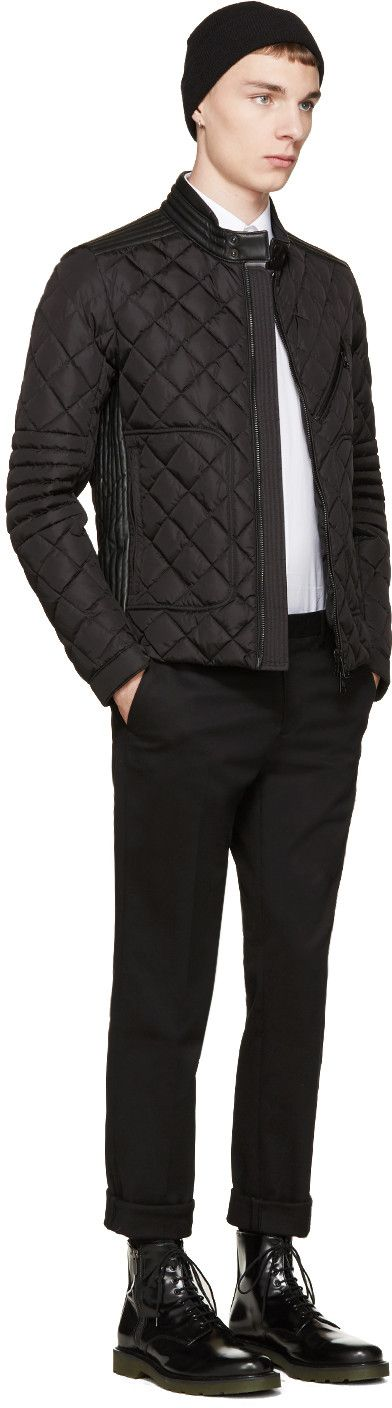 Moncler Black Down & Leather Quilted Giraudo Jacket