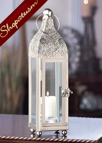 24 Candle Lanterns Ornate Silver Tower Wholesale Centerpieces