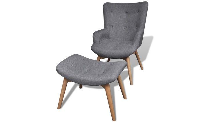 Groupon Goods Global GmbH: Gestoffeerde stoel met voetenbank - Grijs voor € 139.98 (48% korting)