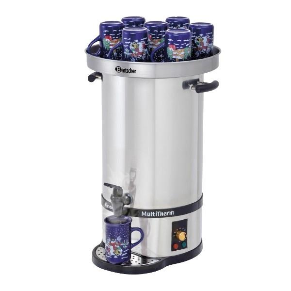 Dispenser erogatore elettrico vin brule' e bevande 20 litri con piano scaldatazzine  CODICE: 200062  Dispenser erogatore elettrico Bartscher  Capacità: 20 litri  Ideale per vin brulè, acqua calda per il tea e bevande calde.  Alimentazione: monofase 220V 50 Hz  Potenza: 2 kW  Dimensioni: ø270X610mm  Piano coperchio scaldatazzine in acciaio inox incluso.  Capacità coperchio 10-15 tazzine.  Diametro coperchio: 354 mm  Altezza coperchio: 40 mm  Peso totale: 5,58 Kg  TEMPI DI CONSEGNA: SE...