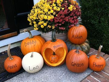 """A whole patch of pumpkins has never looked cuter!""""We announced our baby #6 pregnancy on Facebook the morning of Halloween 2014,"""" mom Lauren, from Edgewater, wrote when entering our America's Best Pregnancy Announcement contest. """"We are due in May 2015. Twins boy and girl, then boy, then girl, then boy, then GIRL!"""""""