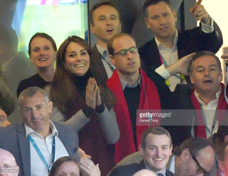Prince William, Duke of Cambridge and Catherine, Duchess of Cambridge attend the Australia v Wales match during the Rugby World Cup 2015 at Twickenham Stadium on October 10, 2015 in London, England.