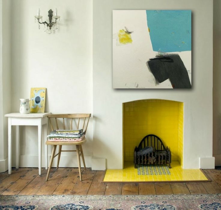 Big Lots Petite Foyer Fireplace : Try painting the inside of your fireplace a bright color
