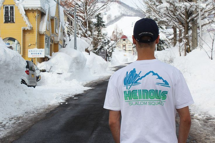 HEINOUS GOODS Slalom Squad Tee // Inspired by recent travels to the Hakuba mountains of Japan, this tee sports both a ski-inspired design on the left pectoral and a contrasting design on the back // available at Clique Arcade