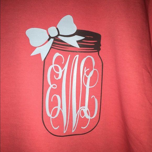 Custom monogrammed Mason jar tshirts! These are custom made shirts made to order!! Sizes, colors, and fonts may vary. Tops Tees - Short Sleeve