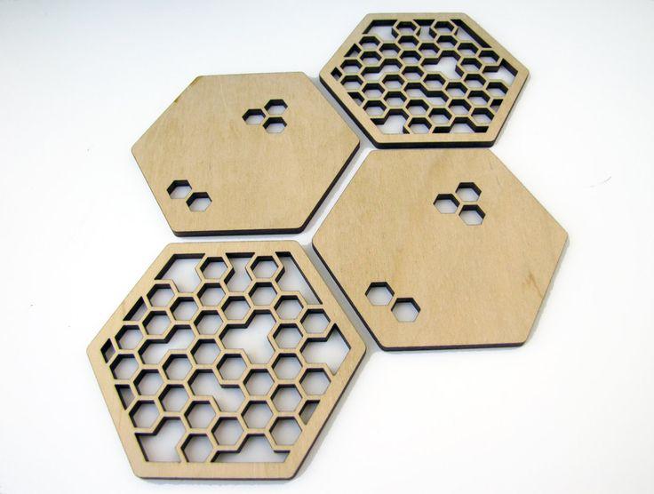 Laser cut wood coasters. Honeycomb and hexagon shape.