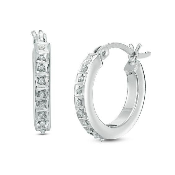 Zales Diamond Fascination Black and White Alternating Hoops in Sterling Silver ZcpYzz
