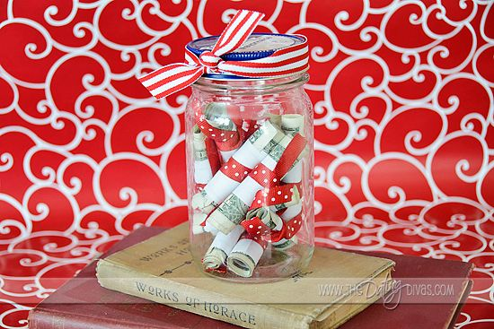 Date night jar. Wrap up date ideas with a certain amount of money for each one so when you want a night out on the town it's all planned and ready to go on a low budget!