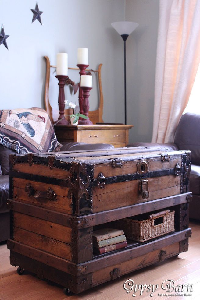 130 best images about luggage chest trunk repurposed for How to turn a trunk into a coffee table