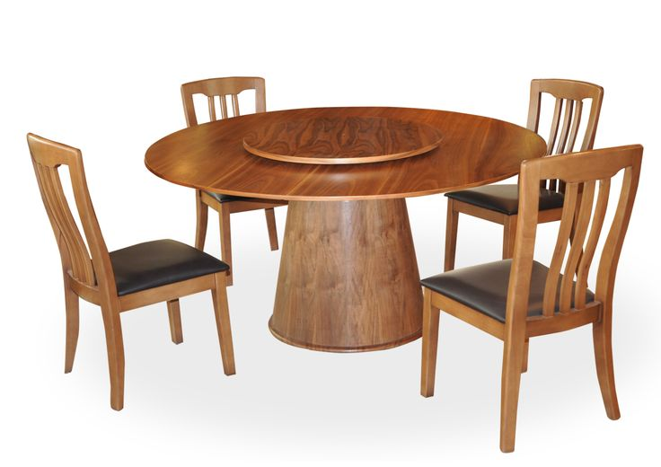 VERNA DINING SET-With this classic 5 piece dining room set, dinner parties with friends will be a classy and tasteful affair. This dining set features a sociable round table with a revolving pedestal and four stylish cut out hardwood chairs; PRICE: 42800/-; Buy Now: http://tfrhome.com/landing/productlandingpage.php?product_code=ds-14