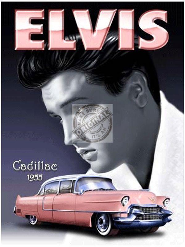 Mini muurplaatje Elvis Cadillac metaal. Mini decoratie plaatje voor aan de muur met de tekst en afbeelding van Elvis Presley en zijn roze 1955 Cadillac. De wanddecoratie is ongeveer 15 x 20 cm en is gemaakt van metaal.