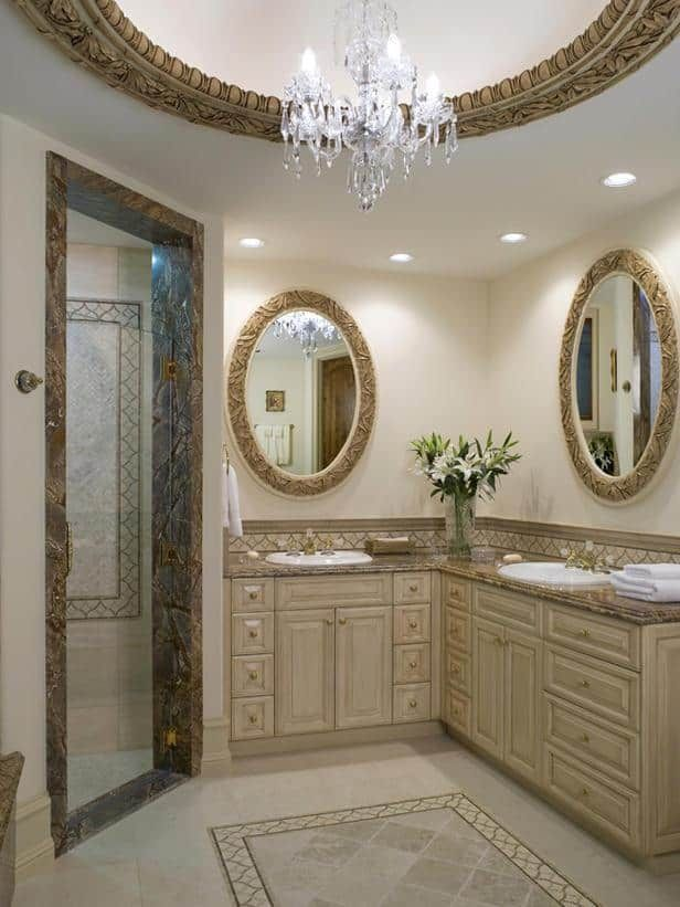 Opulent Oval Mirrors For Classical And Traditional Bathroom