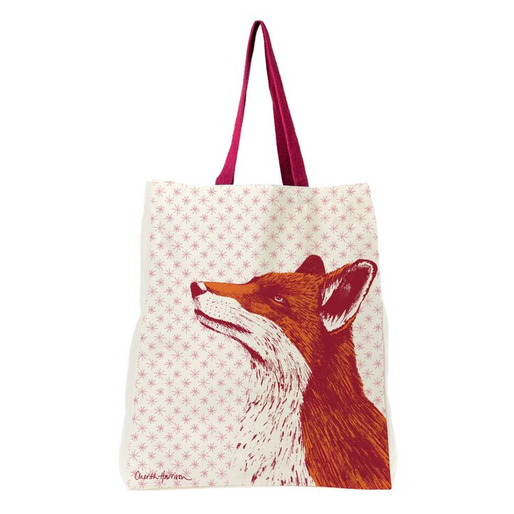 Fox with pink starry background pattern shopper tote bag.