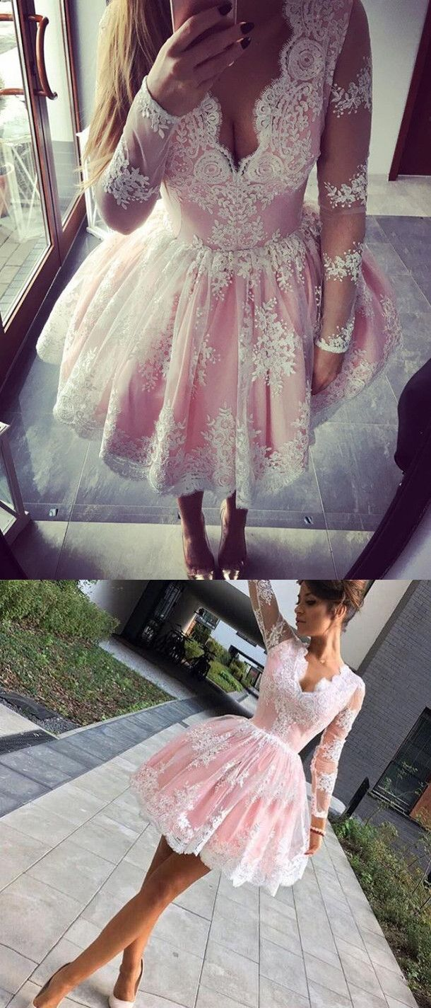 pink homecoming dress, long sleeves homecoming dress, 2017 short lace homecoming dress, ball gown