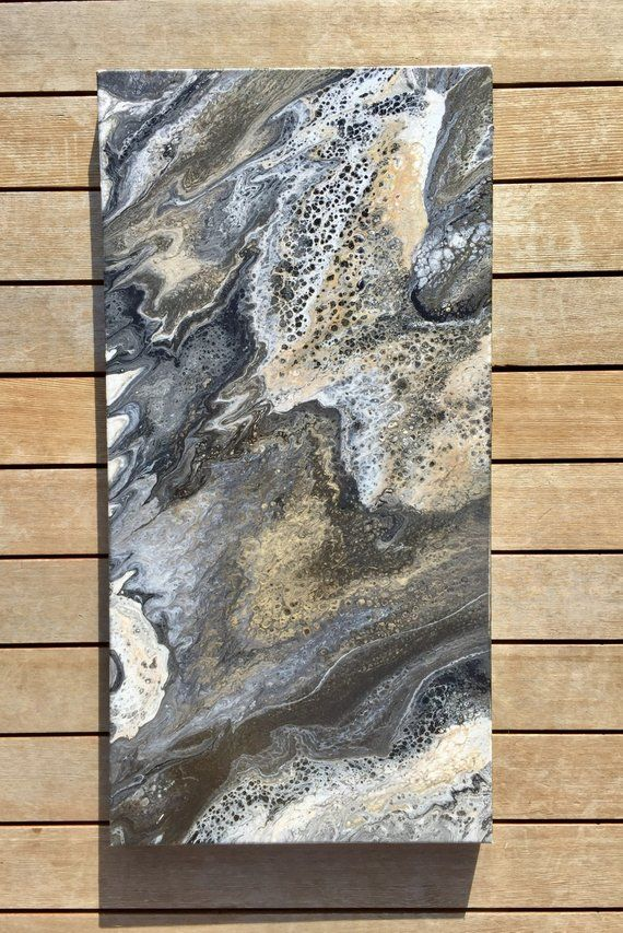 Original Abstract Acrylic Fluid Painting On Canvas Liquitex