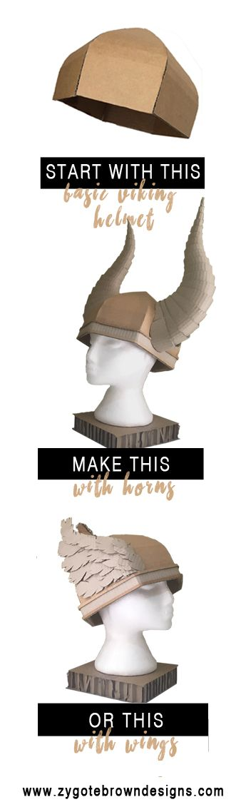 Make your own cardboard viking helmet with this Basic Viking Helmet Template by Zygote Brown Designs