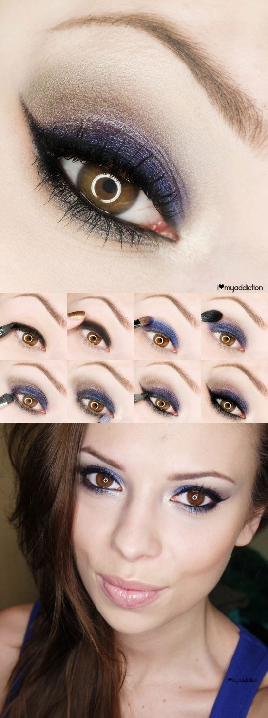 Very Dramatic, blue and purple... notice how it brings out the richness of the chocolate/hazel eyes.