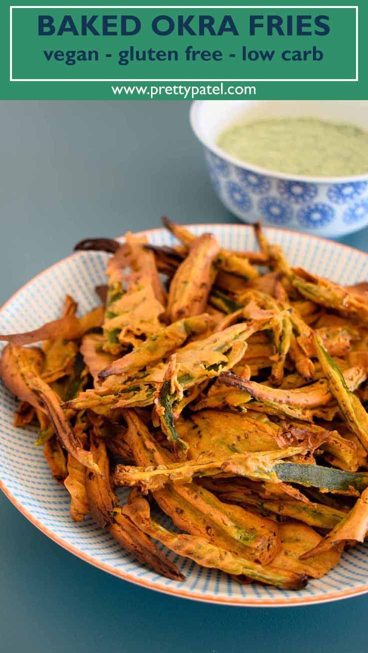 Healthy and crispy baked okra fries. Made using Indian spices and gram flour (chickpea flour). A healthy vegan and gluten free snack or side dish. #vegetarian #fries #vegan # glutenfree