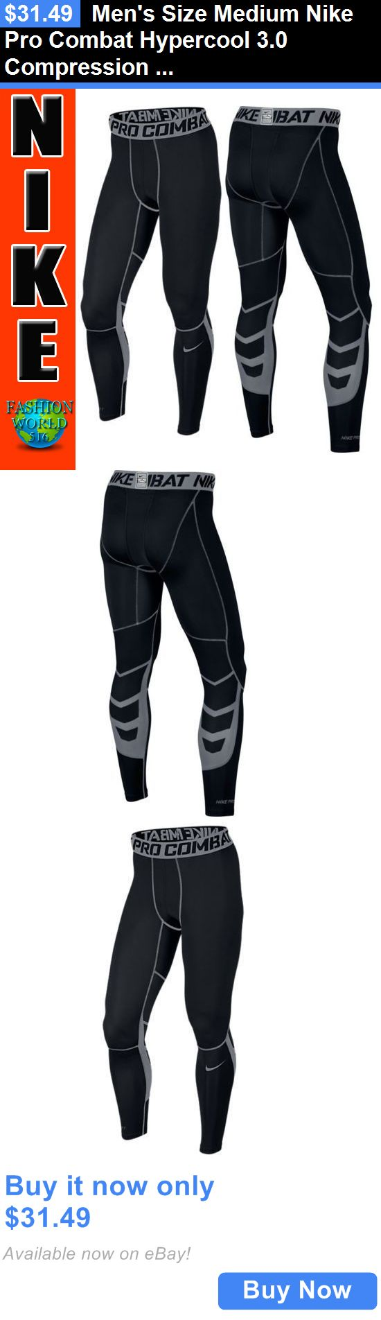 Men Athletics: Mens Size Medium Nike Pro Combat Hypercool 3.0 Compression Tights 636157 Black BUY IT NOW ONLY: $31.49