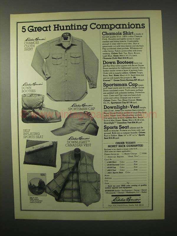 1980 Eddie Bauer Ad - Chamois Shirt, Down Bootees