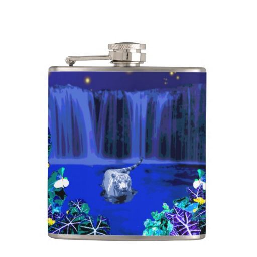 White Night Tiger Tropical Waterfall Flask Hip Flasks - This flask features a white tiger wading in the water, taking a midnight dip the moon high in the sky, a waterfall behind and a tropical rain forest in front. http://www.zazzle.com.au/white_night_tiger_tropical_waterfall_flask-256119050919548878?rf=238523064604734277