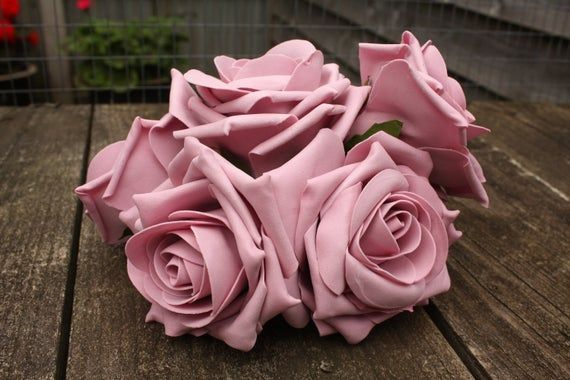 6 White Polyfoam Top Quality Roses 5//6cm Head Wedding Flowers Table Decorations